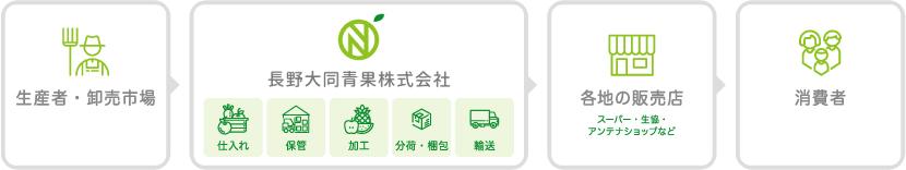 当社の役割 | 長野の野菜・果物等の青果を仕入れて配送を行う仲卸です